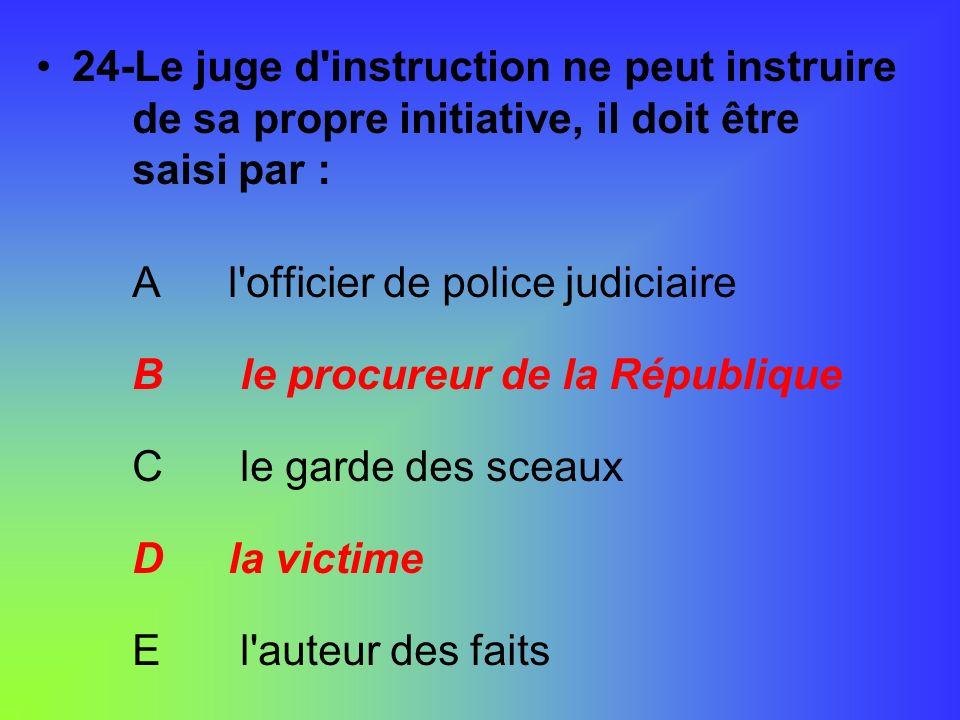 24-Le juge d'instruction ne peut instruire de sa propre initiative, il doit être saisi par : Al'officier de police judiciaire B le procureur de la Rép