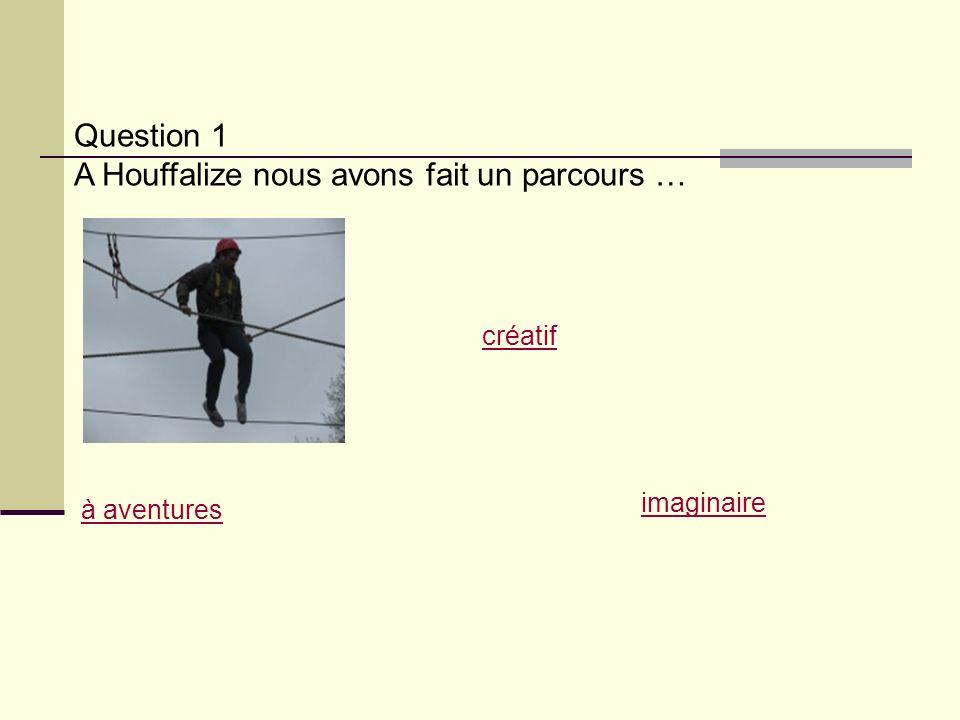 Question 1 A Houffalize nous avons fait un parcours … à aventures créatif imaginaire