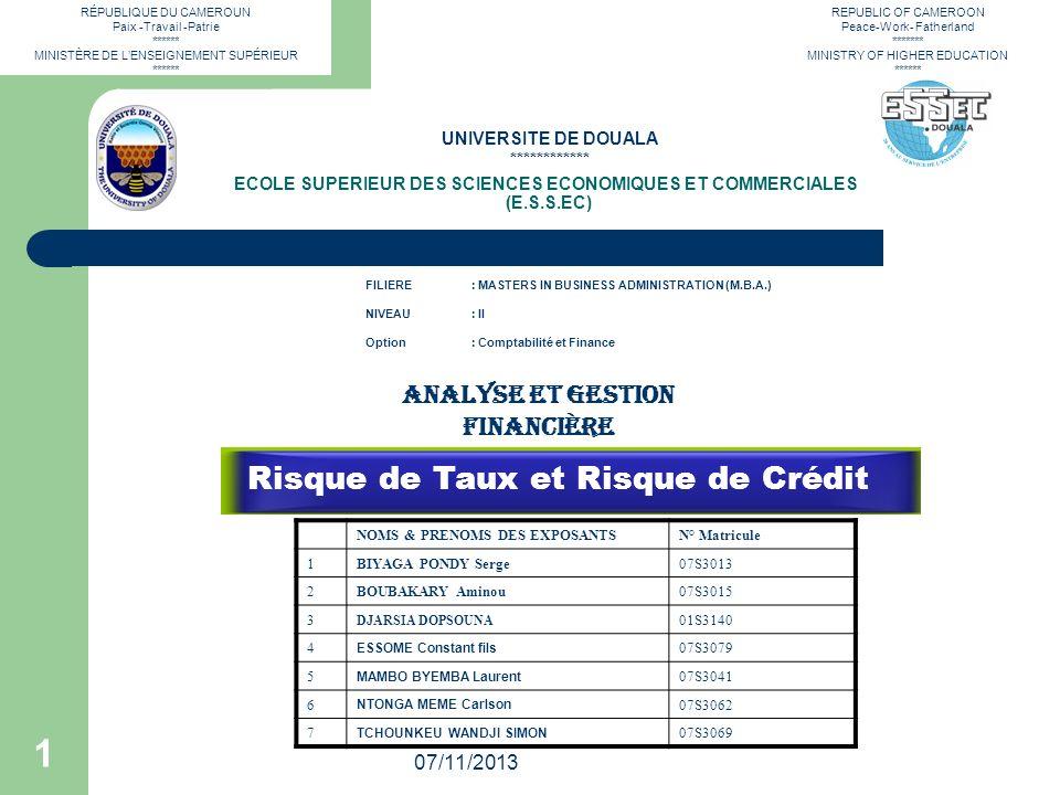 RÉPUBLIQUE DU CAMEROUN Paix -Travail -Patrie ****** MINISTÈRE DE LENSEIGNEMENT SUPÉRIEUR ****** 07/11/2013 1 ECOLE SUPERIEUR DES SCIENCES ECONOMIQUES