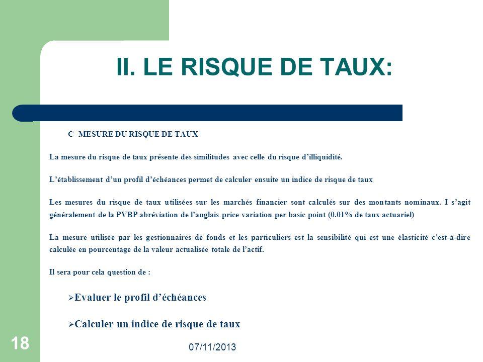 07/11/2013 18 II. LE RISQUE DE TAUX: C- MESURE DU RISQUE DE TAUX La mesure du risque de taux présente des similitudes avec celle du risque dilliquidit
