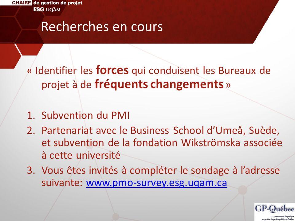 Recherches en cours « Identifier les forces qui conduisent les Bureaux de projet à de fréquents changements » 1.Subvention du PMI 2.Partenariat avec l