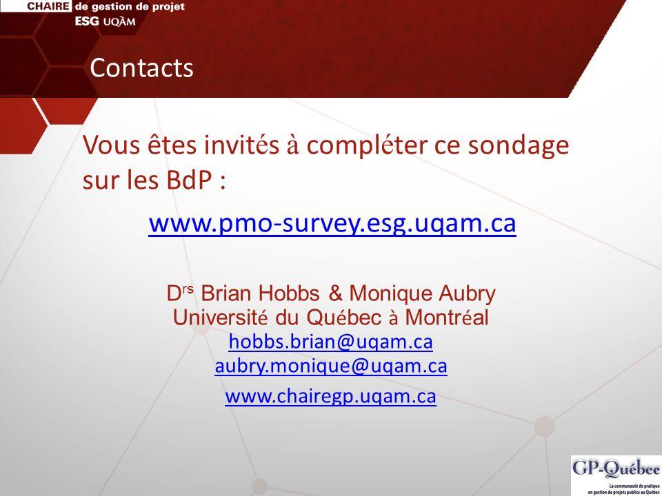 Contacts Vous êtes invit é s à compl é ter ce sondage sur les BdP : www.pmo-survey.esg.uqam.ca D rs Brian Hobbs & Monique Aubry Universit é du Qu é be
