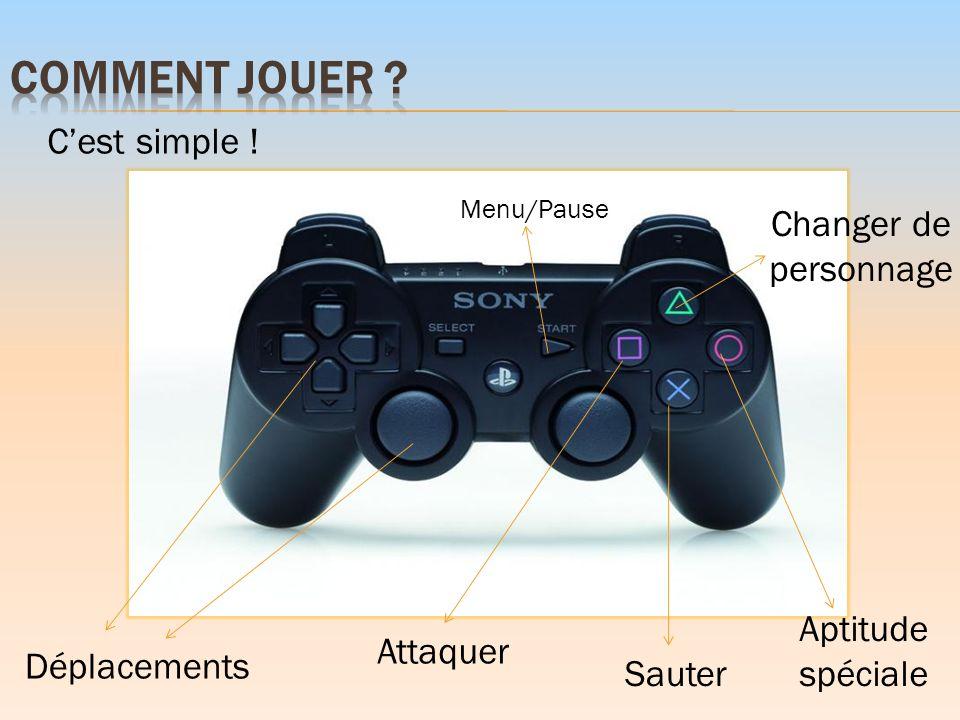 Déplacements Menu/Pause Changer de personnage Attaquer Sauter Aptitude spéciale Cest simple !