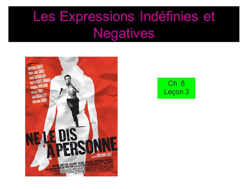 Les Expressions Indéfinies et Negatives Ch. 8 Leçon 3