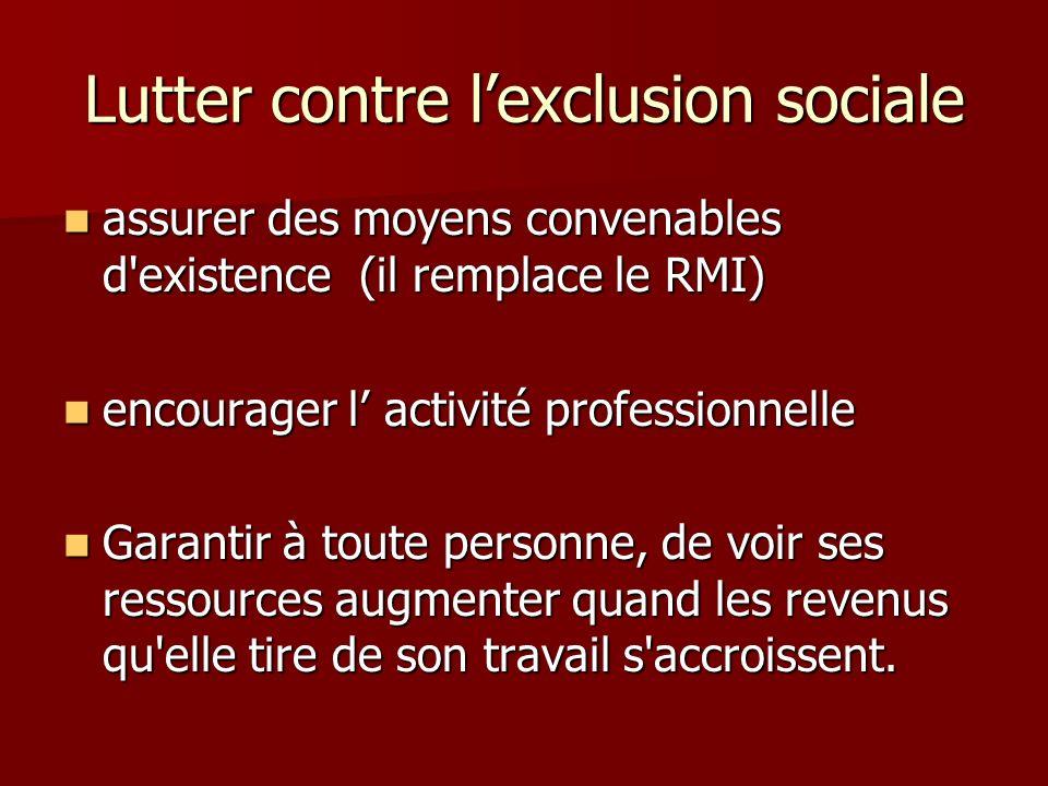 Lutter contre lexclusion sociale assurer des moyens convenables d'existence (il remplace le RMI) assurer des moyens convenables d'existence (il rempla
