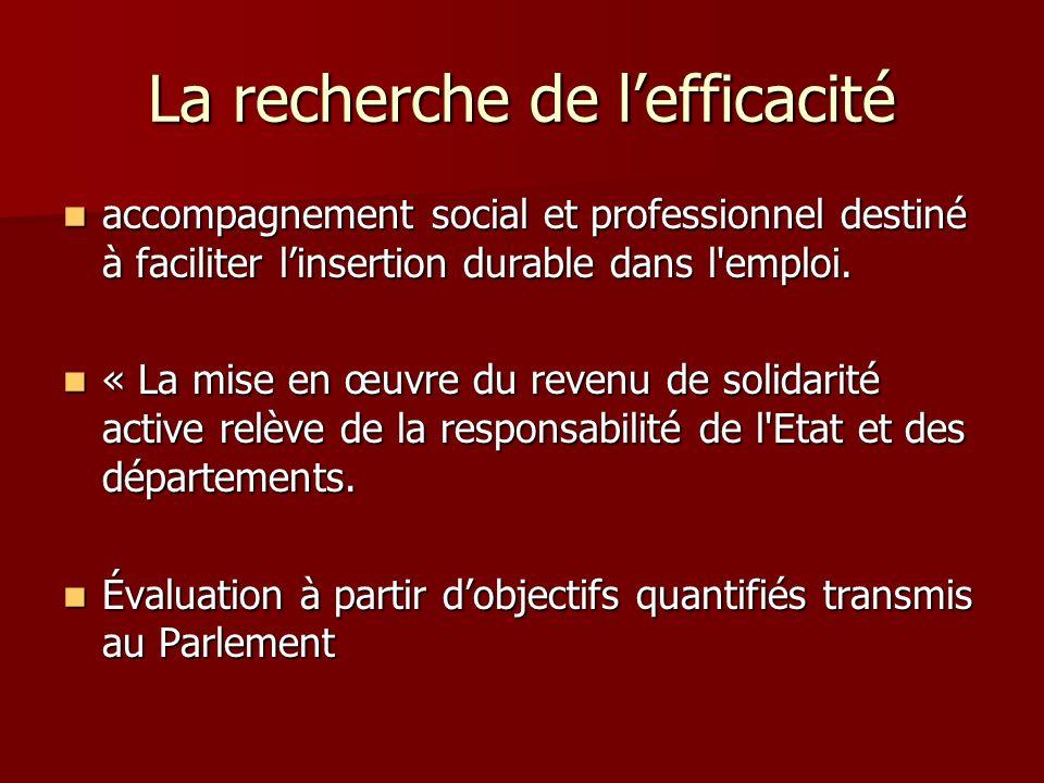 La recherche de lefficacité accompagnement social et professionnel destiné à faciliter linsertion durable dans l'emploi. accompagnement social et prof