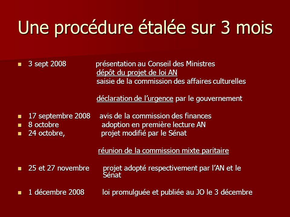 Une procédure étalée sur 3 mois 3 sept 2008 présentation au Conseil des Ministres 3 sept 2008 présentation au Conseil des Ministres dépôt du projet de