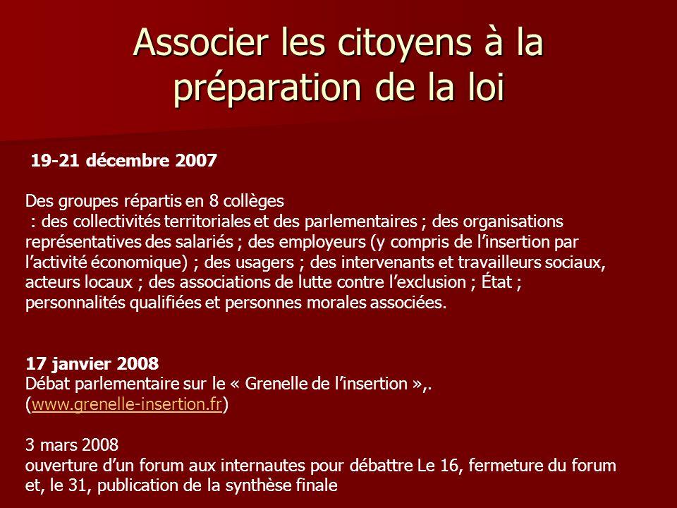 Associer les citoyens à la préparation de la loi 19-21 décembre 2007 Des groupes répartis en 8 collèges : des collectivités territoriales et des parle