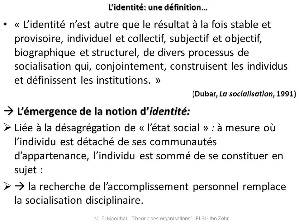 Lidentité: une définition… « Lidentité nest autre que le résultat à la fois stable et provisoire, individuel et collectif, subjectif et objectif, biog