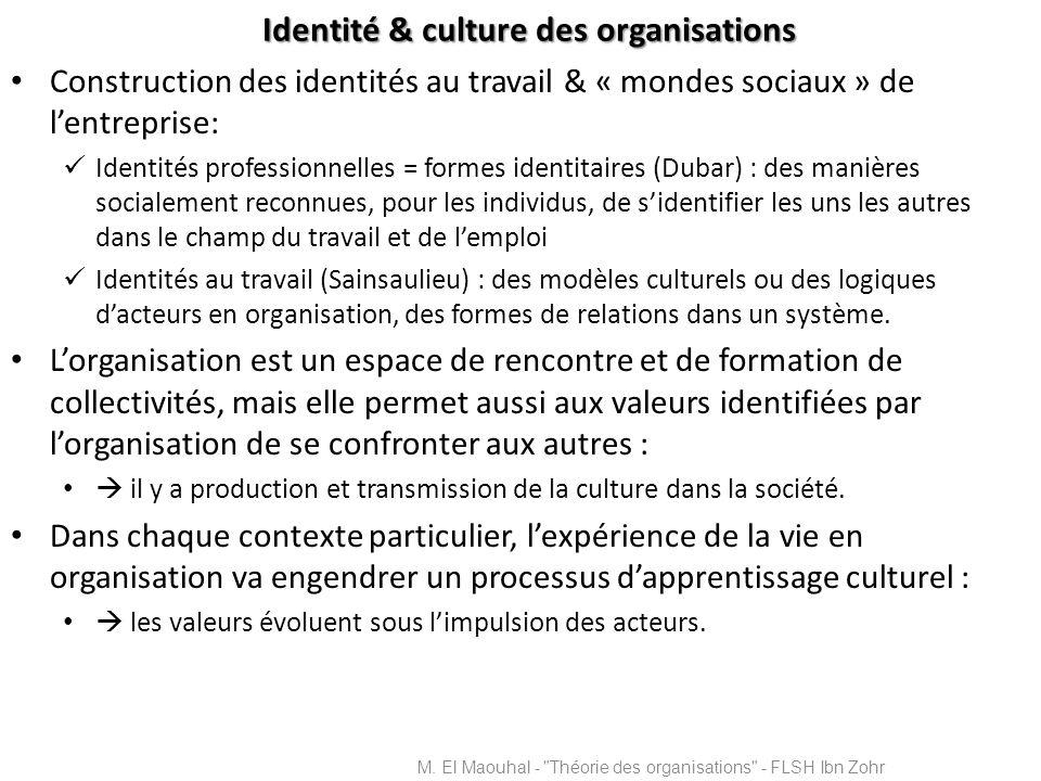 Identité & culture des organisations Construction des identités au travail & « mondes sociaux » de lentreprise: Identités professionnelles = formes id
