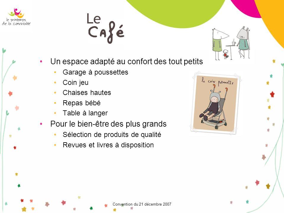Convention du 21 décembre 2007 Un espace adapté au confort des tout petits Garage à poussettes Coin jeu Chaises hautes Repas bébé Table à langer Pour
