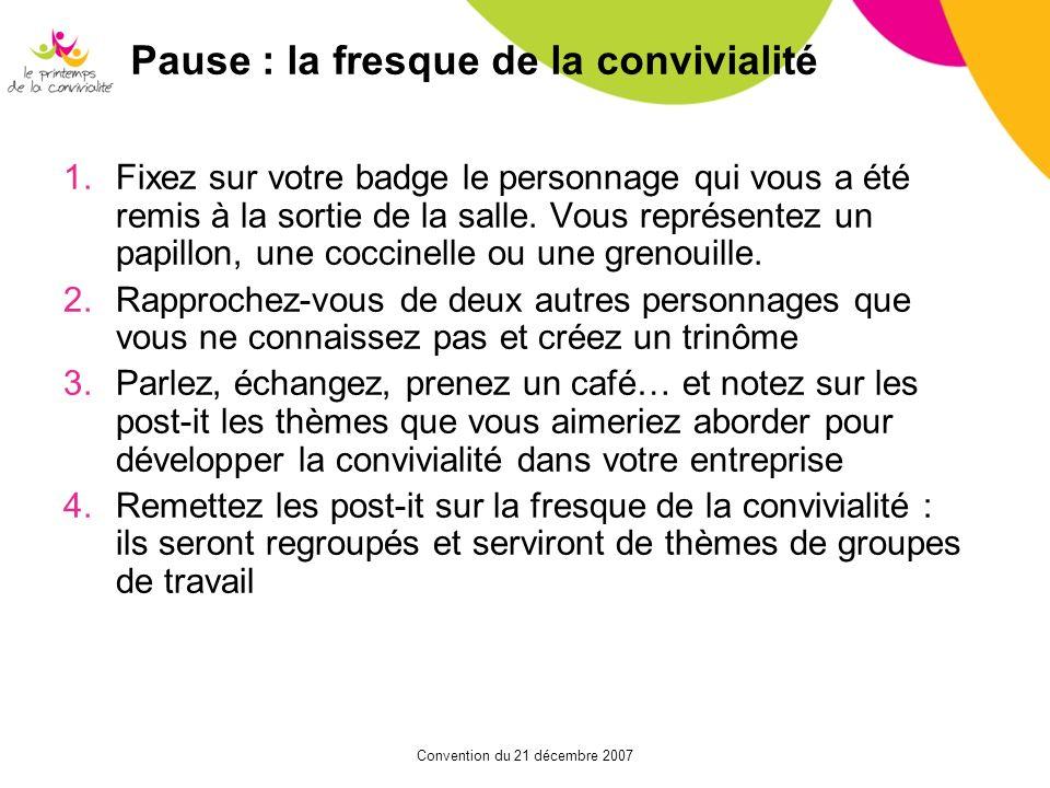 Pause : la fresque de la convivialité 1.Fixez sur votre badge le personnage qui vous a été remis à la sortie de la salle. Vous représentez un papillon