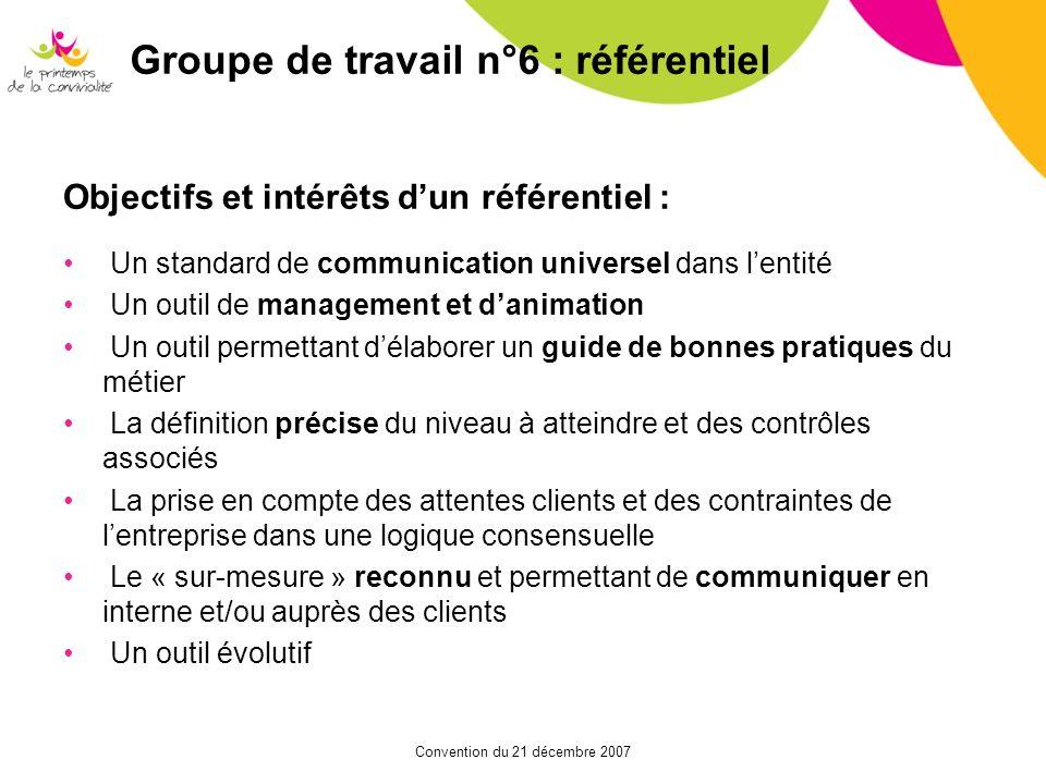 Convention du 21 décembre 2007 Objectifs et intérêts dun référentiel : Un standard de communication universel dans lentité Un outil de management et d
