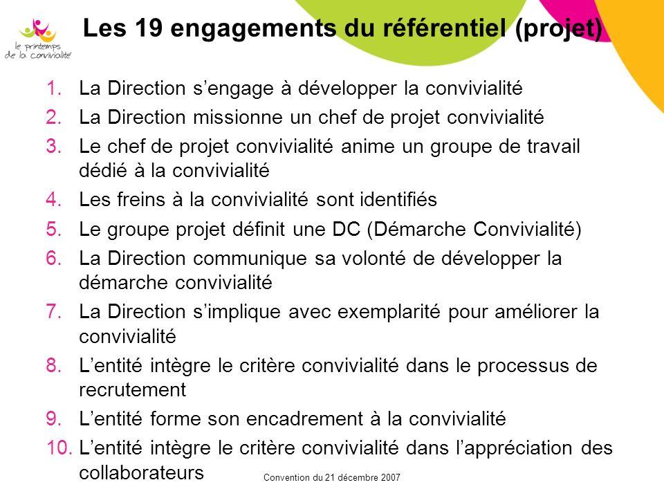 Convention du 21 décembre 2007 Les 19 engagements du référentiel (projet) 1.La Direction sengage à développer la convivialité 2.La Direction missionne