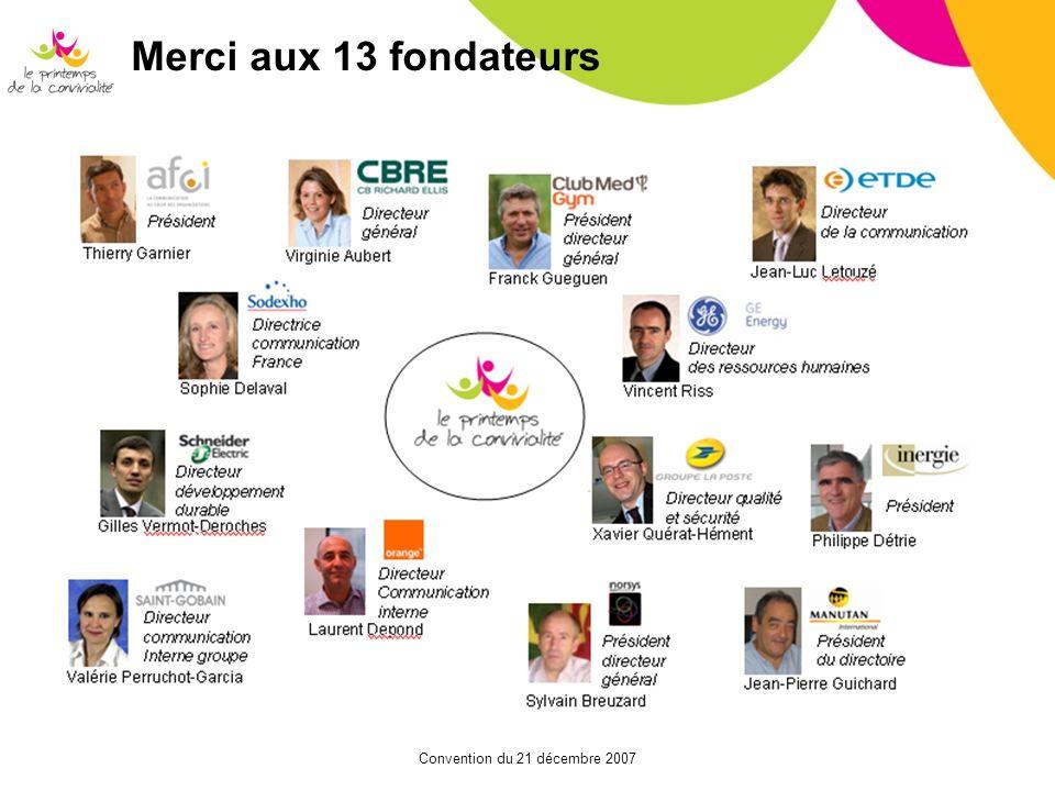Convention du 21 décembre 2007 Merci aux 13 fondateurs