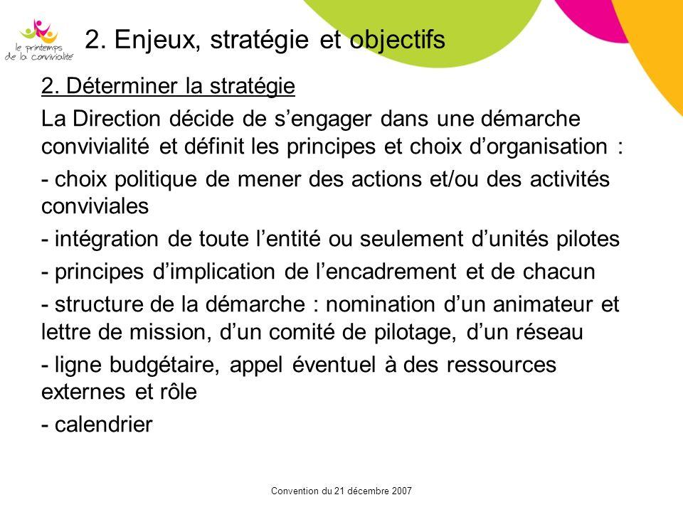 Convention du 21 décembre 2007 2. Enjeux, stratégie et objectifs 2. Déterminer la stratégie La Direction décide de sengager dans une démarche convivia