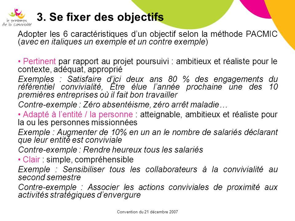 Convention du 21 décembre 2007 3. Se fixer des objectifs Adopter les 6 caractéristiques dun objectif selon la méthode PACMIC (avec en italiques un exe