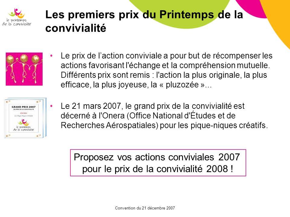 Convention du 21 décembre 2007 Les premiers prix du Printemps de la convivialité Le prix de laction conviviale a pour but de récompenser les actions f