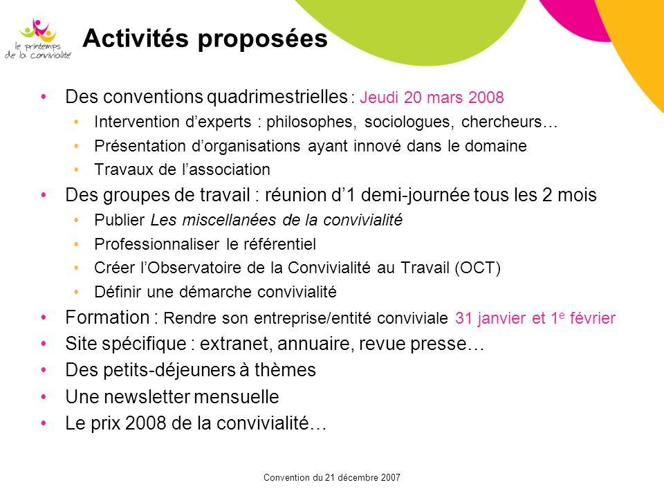 Convention du 21 décembre 2007 Activités proposées Des conventions quadrimestrielles : Jeudi 20 mars 2008 Intervention dexperts : philosophes, sociolo