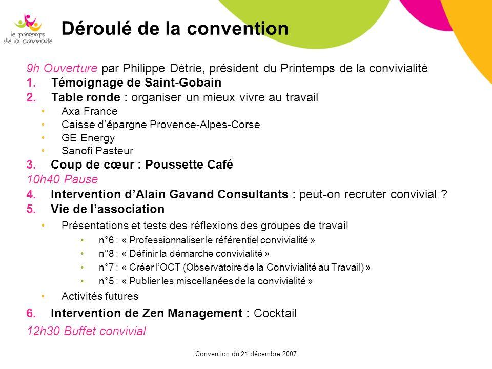 Convention du 21 décembre 2007 Déroulé de la convention 9h Ouverture par Philippe Détrie, président du Printemps de la convivialité 1.Témoignage de Sa
