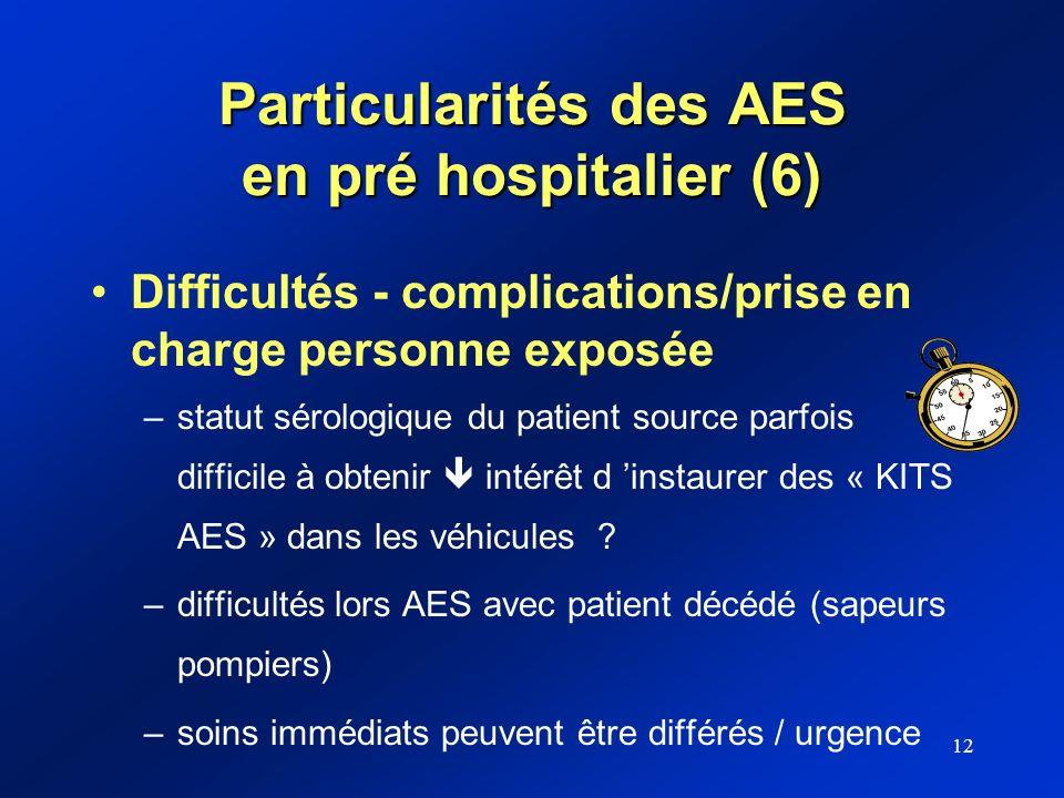12 Particularités des AES en pré hospitalier (6) Difficultés - complications/prise en charge personne exposée –statut sérologique du patient source pa