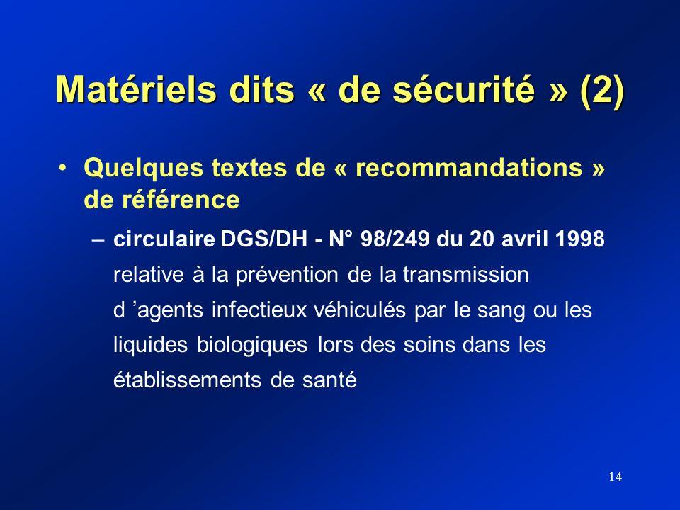 14 Matériels dits « de sécurité » (2) Quelques textes de « recommandations » de référence –circulaire DGS/DH - N° 98/249 du 20 avril 1998 relative à l