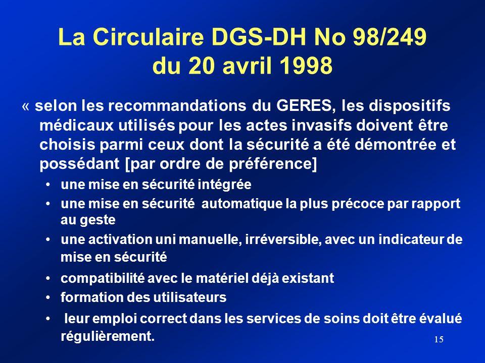 15 La Circulaire DGS-DH No 98/249 du 20 avril 1998 « selon les recommandations du GERES, les dispositifs médicaux utilisés pour les actes invasifs doi