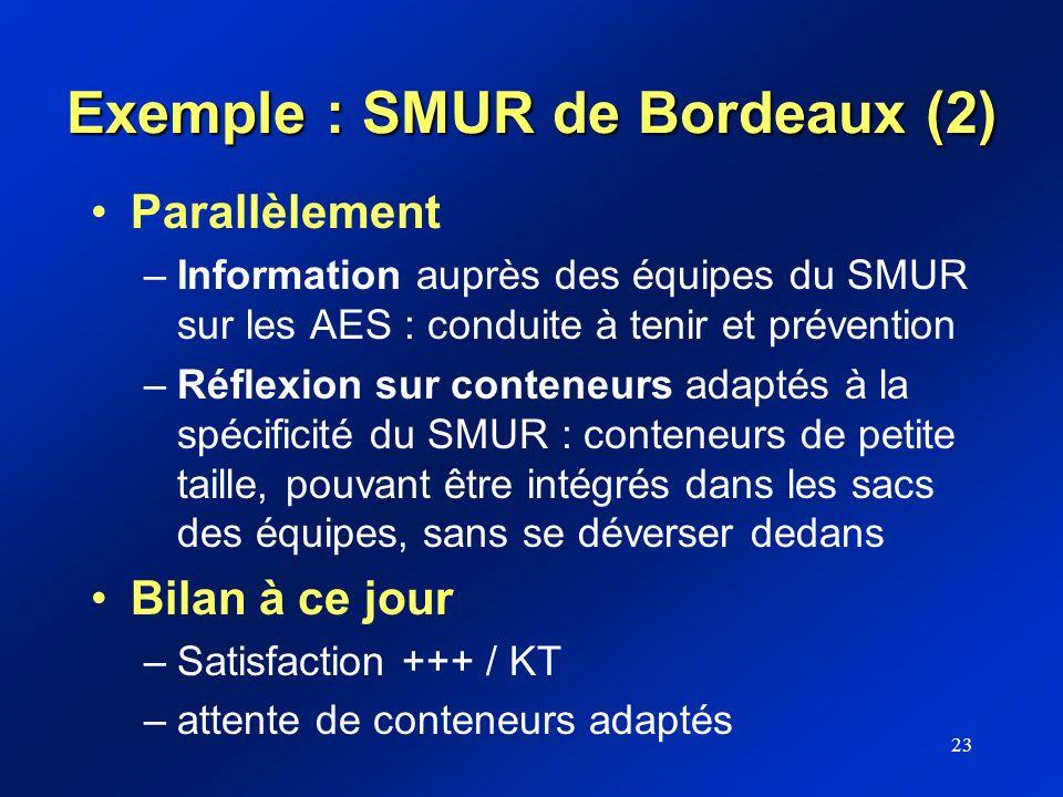 23 Exemple : SMUR de Bordeaux (2) Parallèlement –Information auprès des équipes du SMUR sur les AES : conduite à tenir et prévention –Réflexion sur co