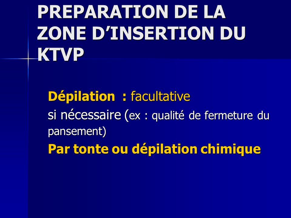PREPARATION DE LA ZONE DINSERTION DU KTVP Dépilation : facultative si nécessaire ( ex : qualité de fermeture du pansement) Par tonte ou dépilation chi