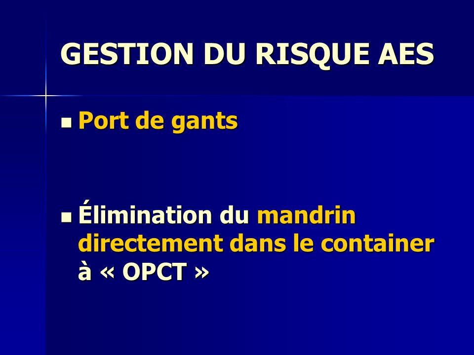 GESTION DU RISQUE AES Port de gants Port de gants Élimination du mandrin directement dans le container à « OPCT » Élimination du mandrin directement d