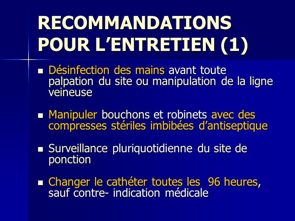 RECOMMANDATIONS POUR LENTRETIEN (1) Désinfection des mains avant toute palpation du site ou manipulation de la ligne veineuse Désinfection des mains a
