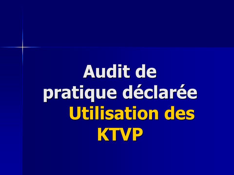 Audit de pratique déclarée Utilisation des KTVP