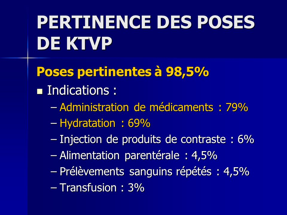 PERTINENCE DES POSES DE KTVP Poses pertinentes à 98,5% Indications : Indications : –Administration de médicaments : 79% –Hydratation : 69% –Injection