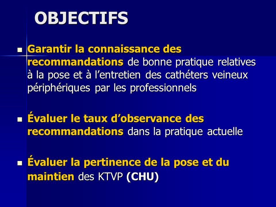 OBJECTIFS Garantir la connaissance des recommandations de bonne pratique relatives à la pose et à lentretien des cathéters veineux périphériques par l