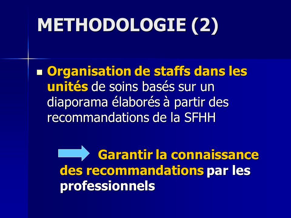 METHODOLOGIE (2) Organisation de staffs dans les unités de soins basés sur un diaporama élaborés à partir des recommandations de la SFHH Organisation
