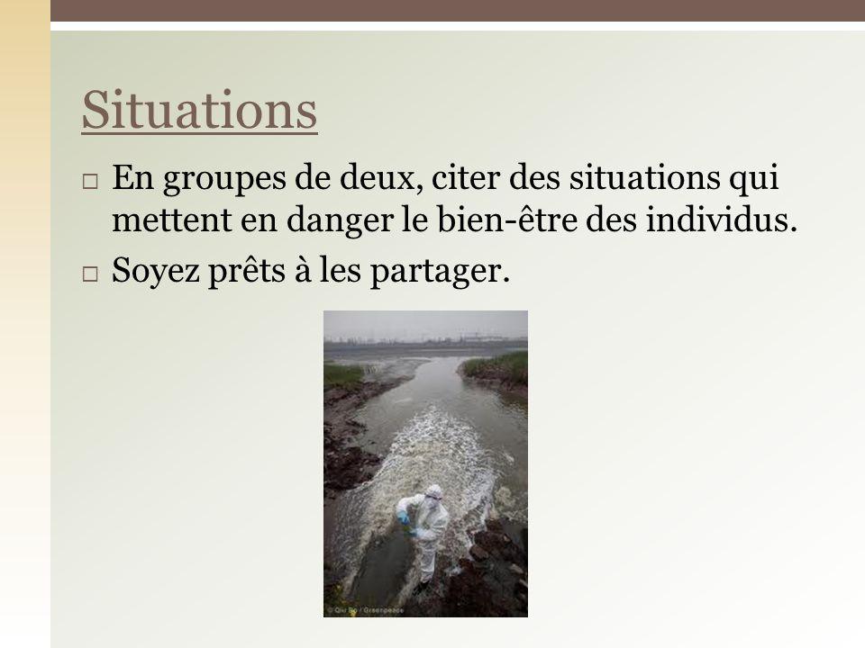 En groupes de deux, citer des situations qui mettent en danger le bien-être des individus.
