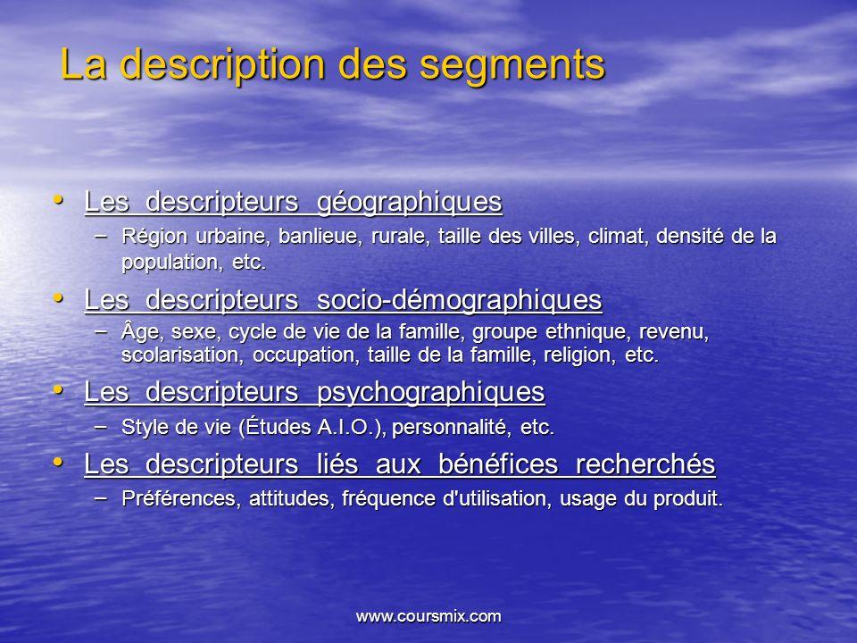 www.coursmix.com La description des segments Les descripteurs géographiques Les descripteurs géographiques – Région urbaine, banlieue, rurale, taille
