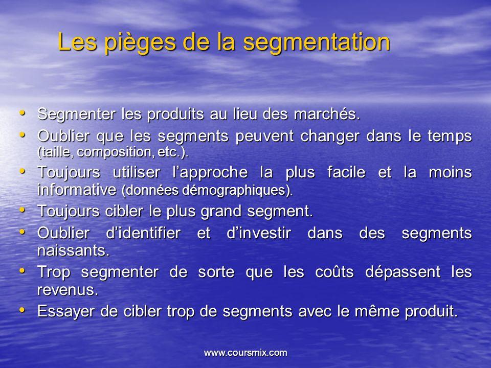 www.coursmix.com Les pièges de la segmentation Segmenter les produits au lieu des marchés. Segmenter les produits au lieu des marchés. Oublier que les