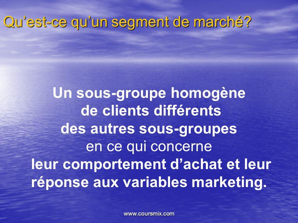 www.coursmix.com Étapes à la segmentation des marchés Identification de la présence de segments Description des segments Prévision de la demande potentielle dans chaque segment Analyse de la concurrence pour chaque segment Élaboration d un marketing mix «probable» pour chaque segment