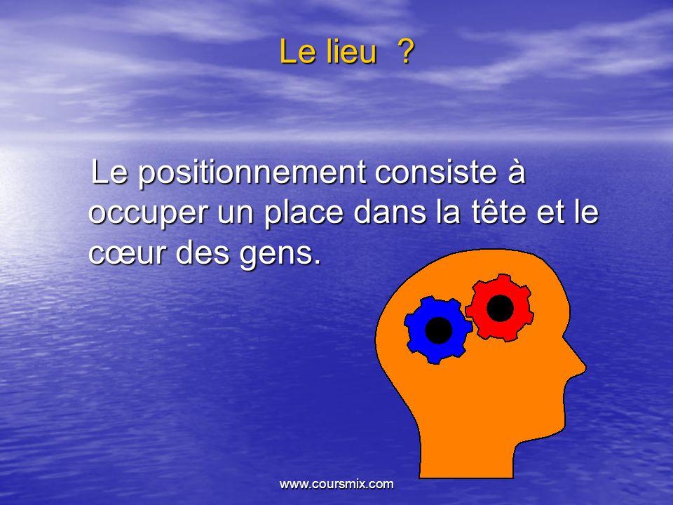www.coursmix.com Le lieu ? Le positionnement consiste à occuper un place dans la tête et le cœur des gens. Le positionnement consiste à occuper un pla