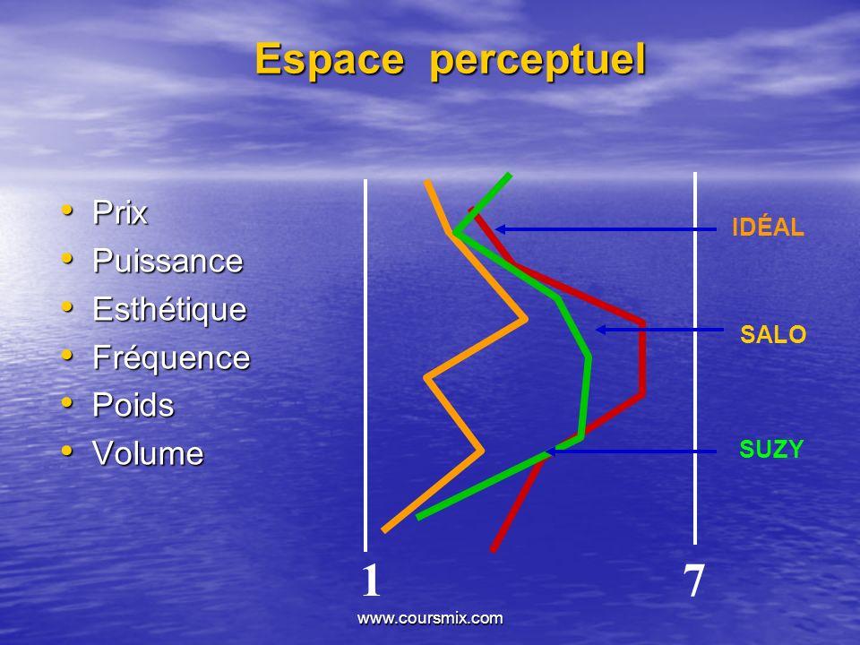 www.coursmix.com Espace perceptuel Prix Prix Puissance Puissance Esthétique Esthétique Fréquence Fréquence Poids Poids Volume Volume SALO IDÉAL SUZY 1