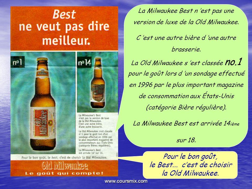www.coursmix.com Pour le bon goût, le Best... cest de choisir la Old Milwaukee. La Milwaukee Best n est pas une version de luxe de la Old Milwaukee. C