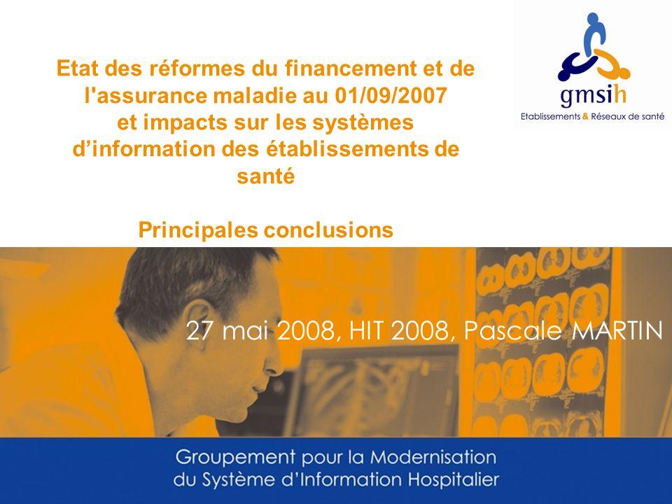 27 mai 2008, HIT 2008, Pascale MARTIN Etat des réformes du financement et de l'assurance maladie au 01/09/2007 et impacts sur les systèmes dinformatio