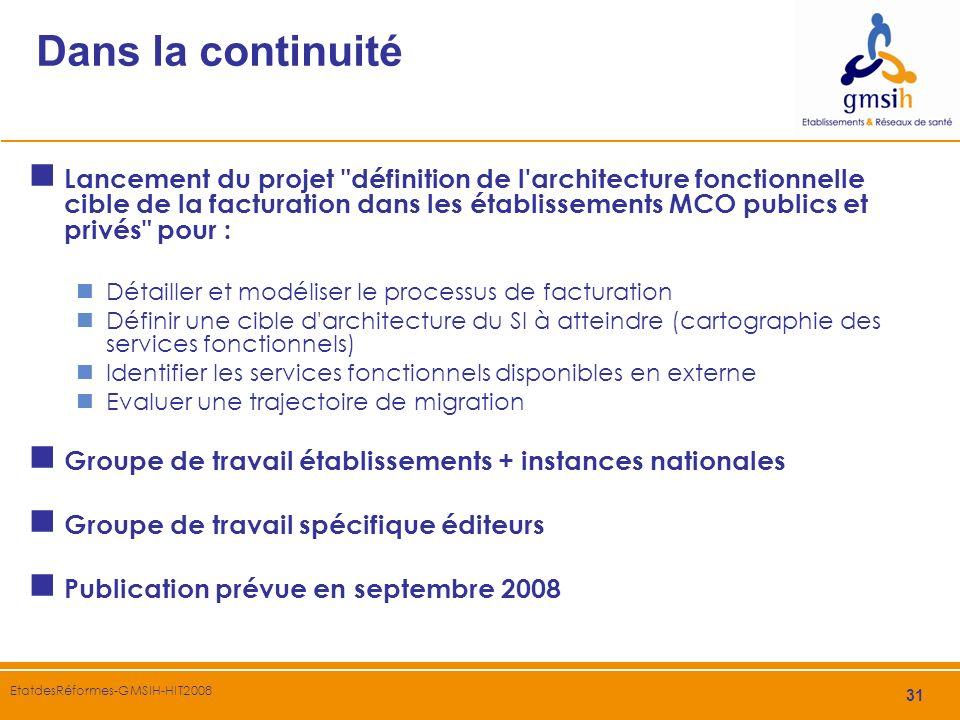 31 EtatdesRéformes-GMSIH-HIT2008 Dans la continuité Lancement du projet
