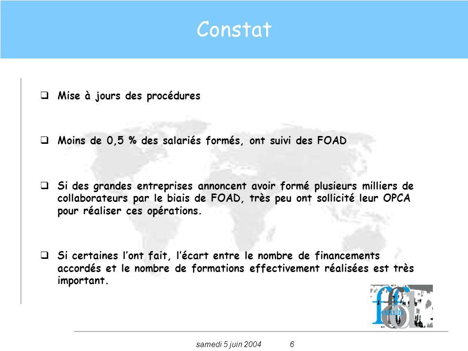 samedi 5 juin 20047 Constat On constate un écart gigantesque entre les chiffres annoncés par les entreprises, les éditeurs de contenus et ceux annoncés par les OPCA.