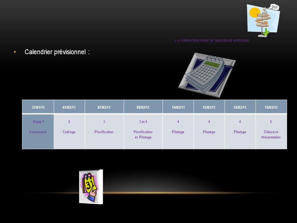LA FORMATION POUR DE NOUVEAUX HORIZONS Calendrier prévisionnel : 31/01/11 01/02/11 07/02/11 08/02/11 14/02/11 15/02/11 18/02/11 18/03/11 Etape 1 Lance