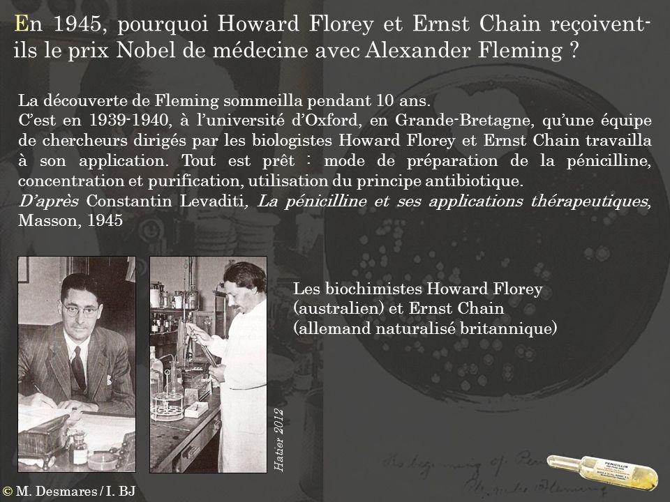 En 1945, pourquoi Howard Florey et Ernst Chain reçoivent- ils le prix Nobel de médecine avec Alexander Fleming ? Les biochimistes Howard Florey (austr