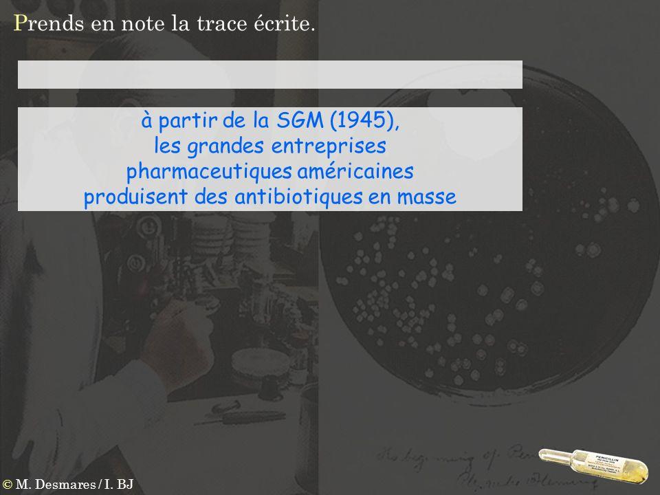 Prends en note la trace écrite. © M. Desmares / I. BJ à partir de la SGM (1945), les grandes entreprises pharmaceutiques américaines produisent des an