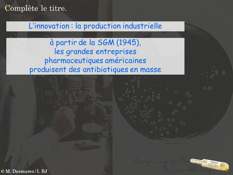 Complète le titre. © M. Desmares / I. BJ Linnovation : la production industrielle à partir de la SGM (1945), les grandes entreprises pharmaceutiques a
