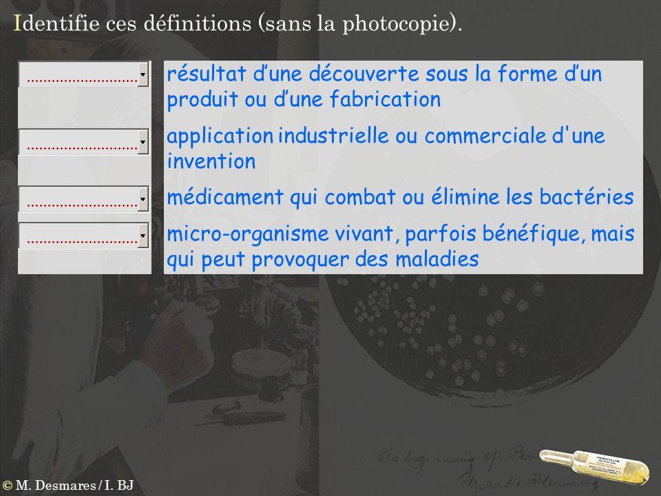 Identifie ces définitions (sans la photocopie). résultat dune découverte sous la forme dun produit ou dune fabrication application industrielle ou com